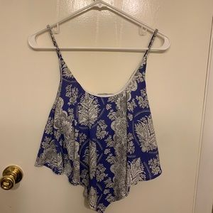 Fabric royal blue patterned flowy crop top
